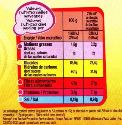 Kao'choc - Informations nutritionnelles