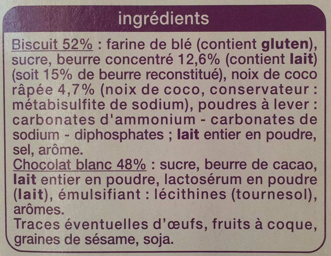 Petit beurre Tablette Chocolat Blanc - Ingredients - fr
