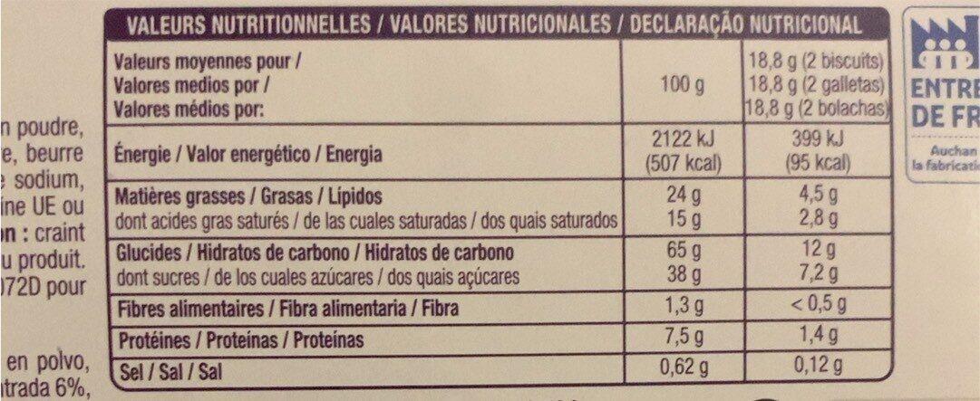 Petit beurre Tablette Chocolat Blanc - Nutrition facts - fr