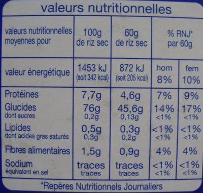 Riz long grain incollable  (cuisson rapide 10 mn) - Informations nutritionnelles