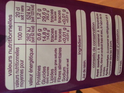 100 % pur jus, raisin - Nutrition facts - fr