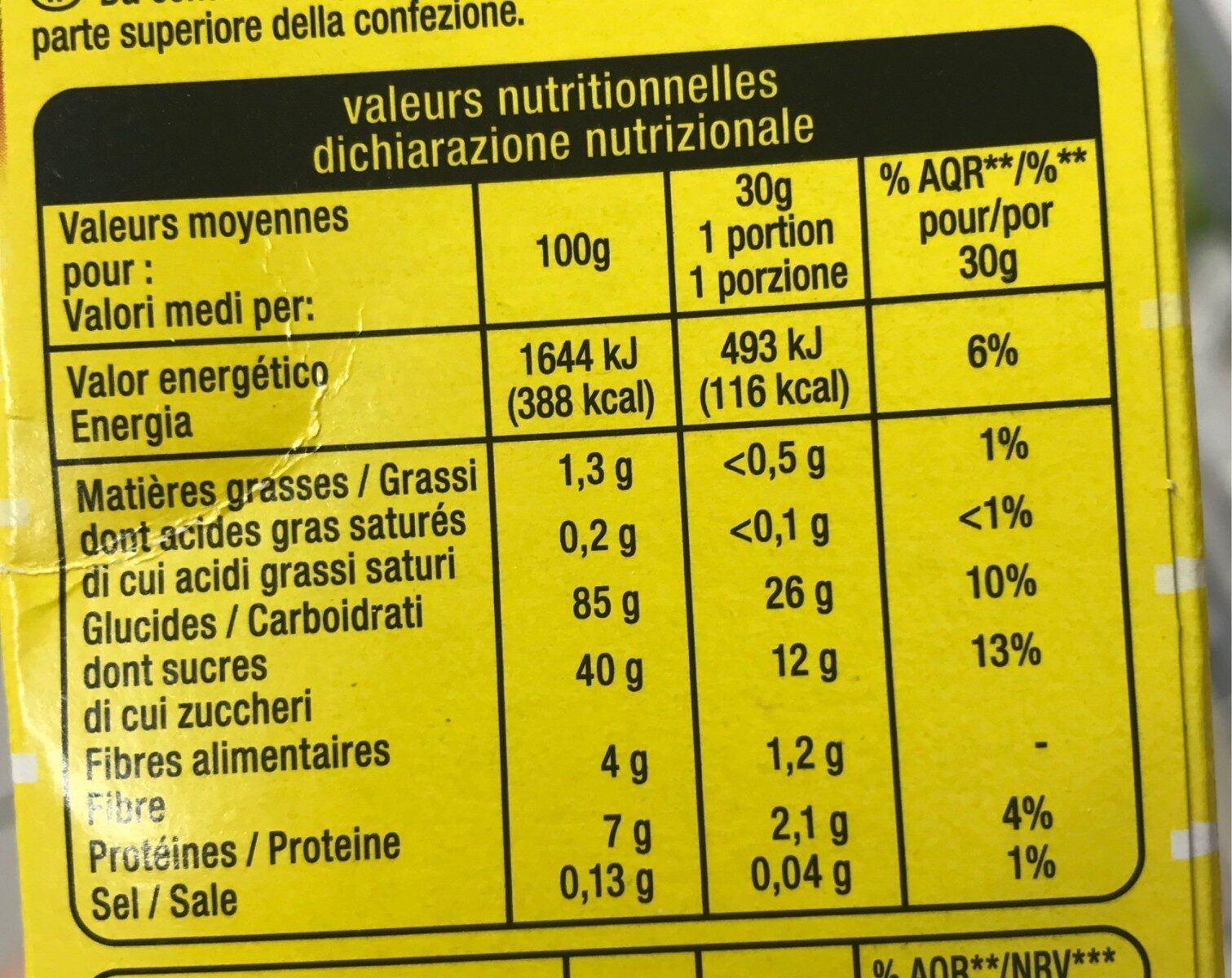 Bumpies - Nutrition facts - fr