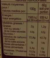Couscous grain moyen - Información nutricional - fr