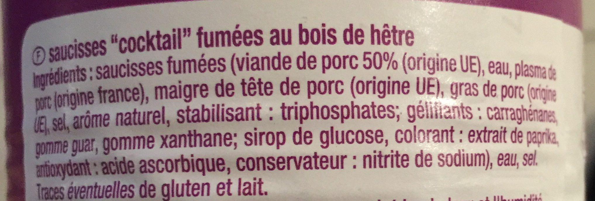 Saucisses cocktail gout nature - Ingredients