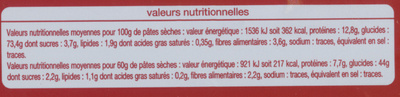 Pâtes spaghetti - Nutrition facts - fr
