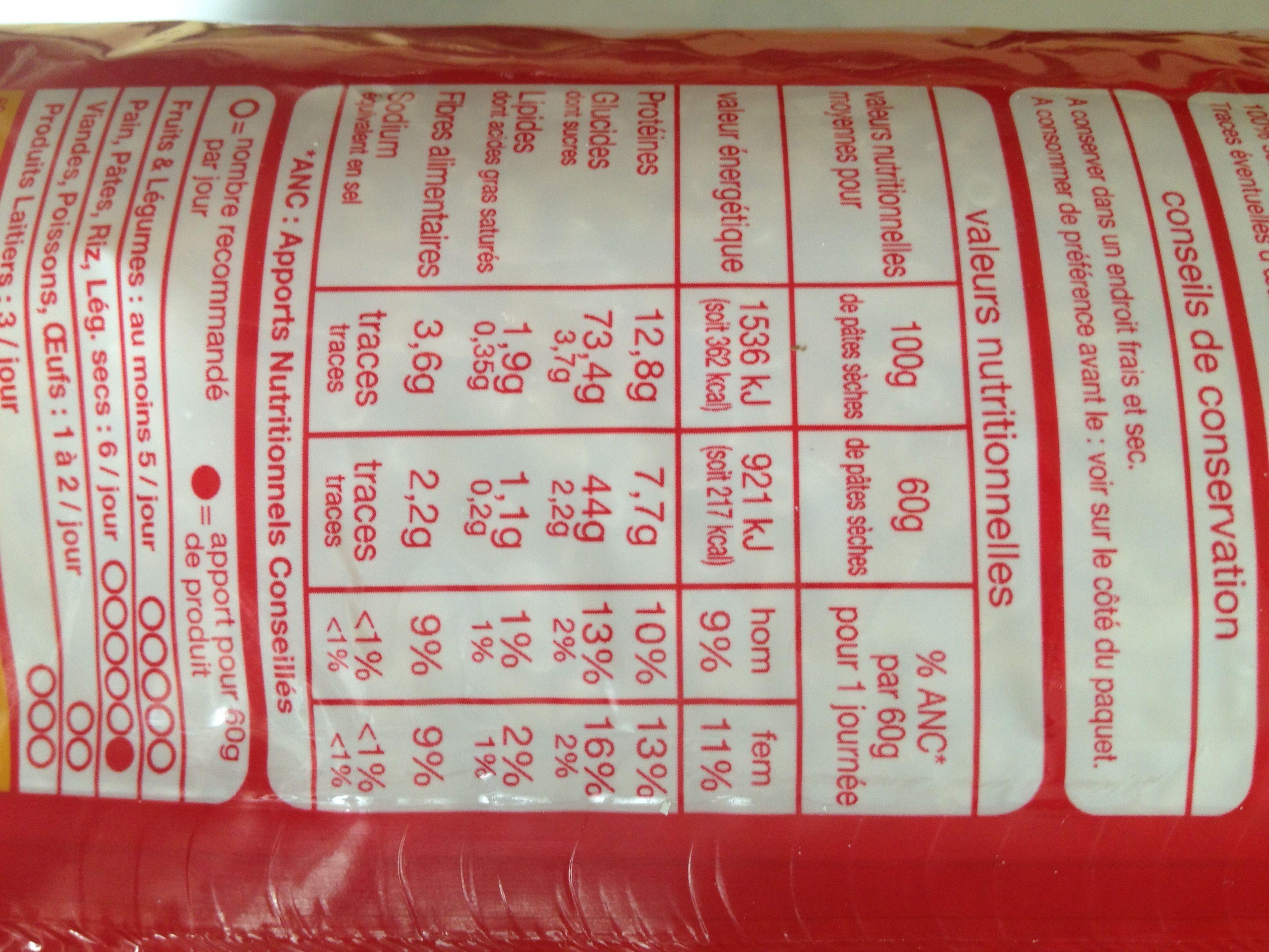 Pâtes Coquillettes - Nutrition facts - fr