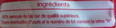 Pâtes macaroni de qualité supérieure - Ingrédients - fr