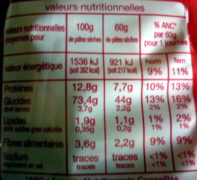 Pâtes macaroni de qualité supérieure - Informations nutritionnelles