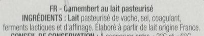 Le Camembert lait origine France - Ingrediënten - fr