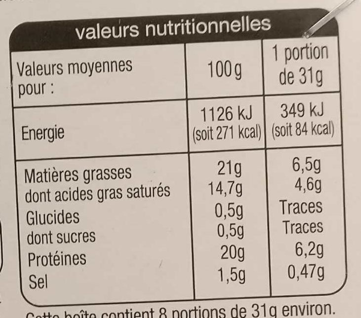 Camembert au lait pasteurisé (21 % MG) - Voedingswaarden - fr