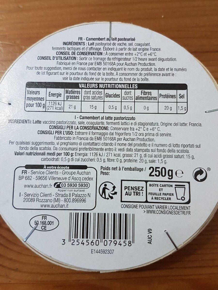 Le Camembert lait origine France - Voedingswaarden - fr