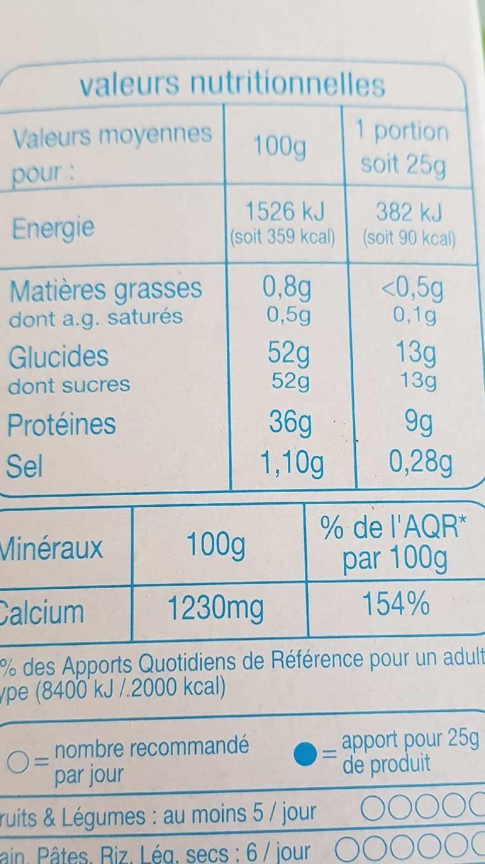 Lait en poudre écrémé - Informations nutritionnelles - fr