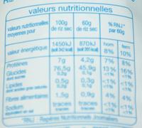 Riz très long Surinam - Informations nutritionnelles - fr