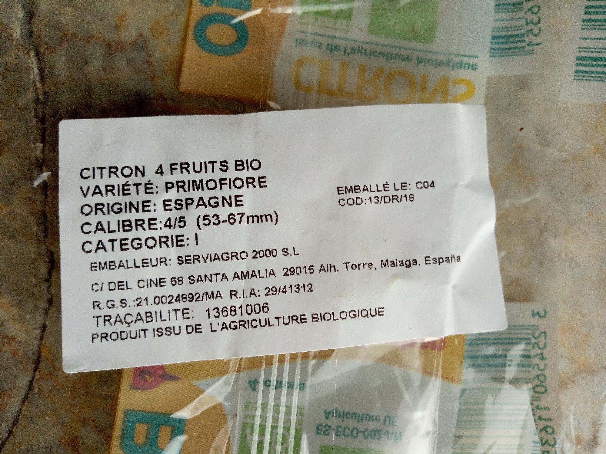 Citrons - Ingrediënten - fr