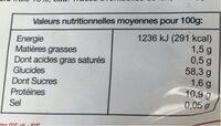Le Traiteur tagliatelles - Informations nutritionnelles - fr