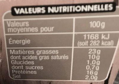 Saucisson à L'ail Nature - Nutrition facts