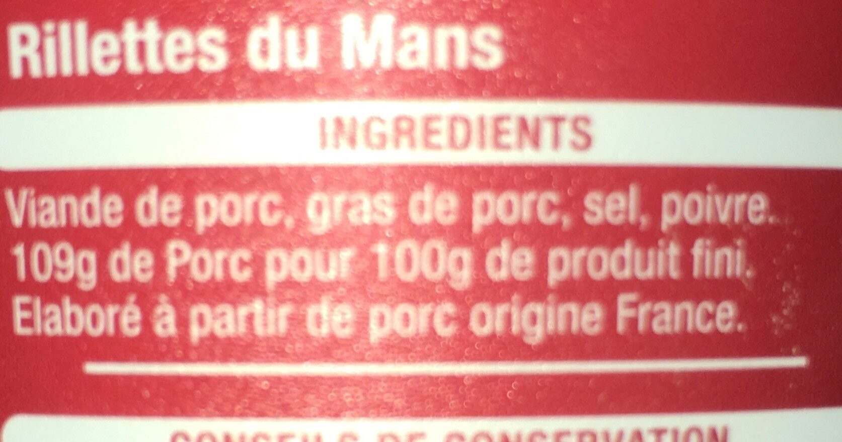 Rillettes du Mans Pur Porc - Ingrédients - fr