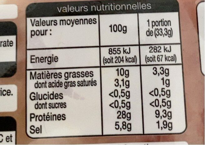 Mmm! Jambon Italien Tranche x7 - - Nutrition facts - fr