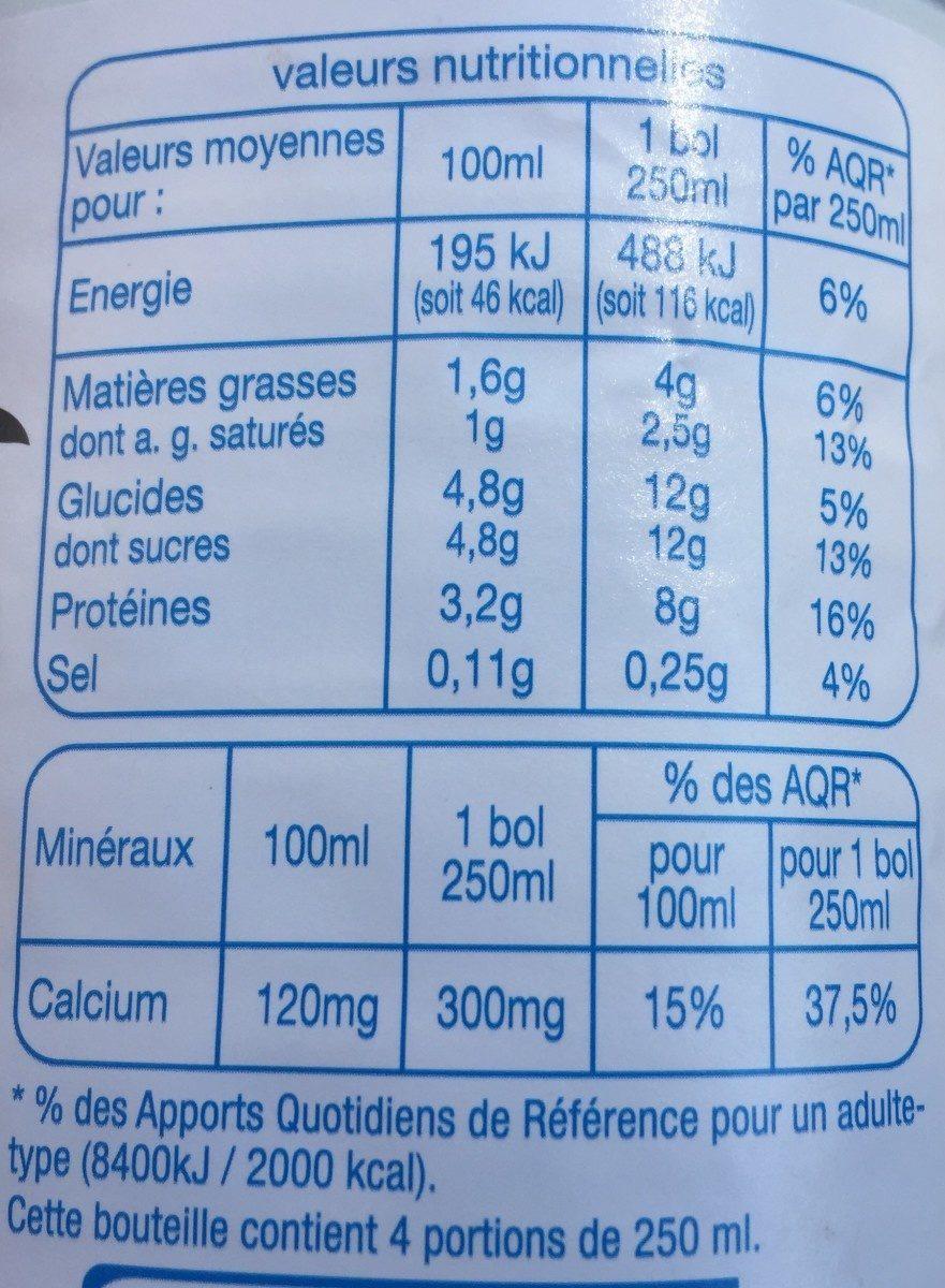 Lait demi-écrémé des campagnes françaises - Informations nutritionnelles - fr