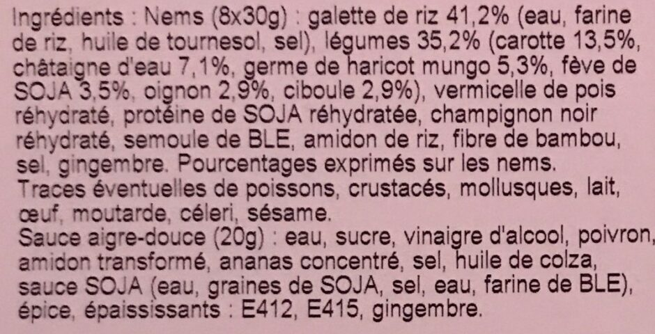 Nems legumes - Ingredients - fr