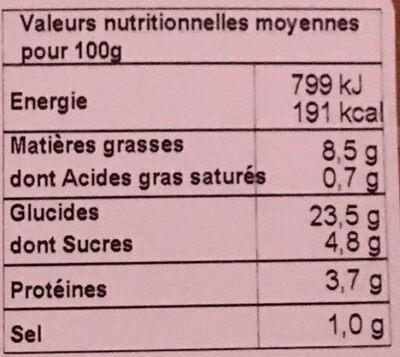 Nems legumes - Nutrition facts - fr