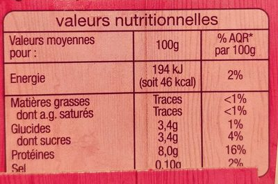 Fromage frais nature 0% - Nutrition facts