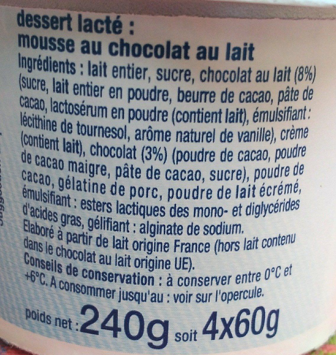 Mousse au Chocolat au Lait - Ingrediënten