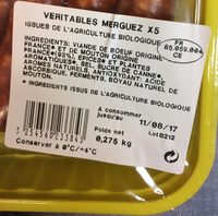 Merguez Véritables - Ingredients