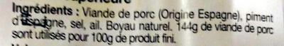 Véritable Chorizo espagnol fort - Ingrédients - fr