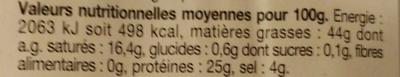 Véritable Chorizo espagnol fort - Informations nutritionnelles - fr