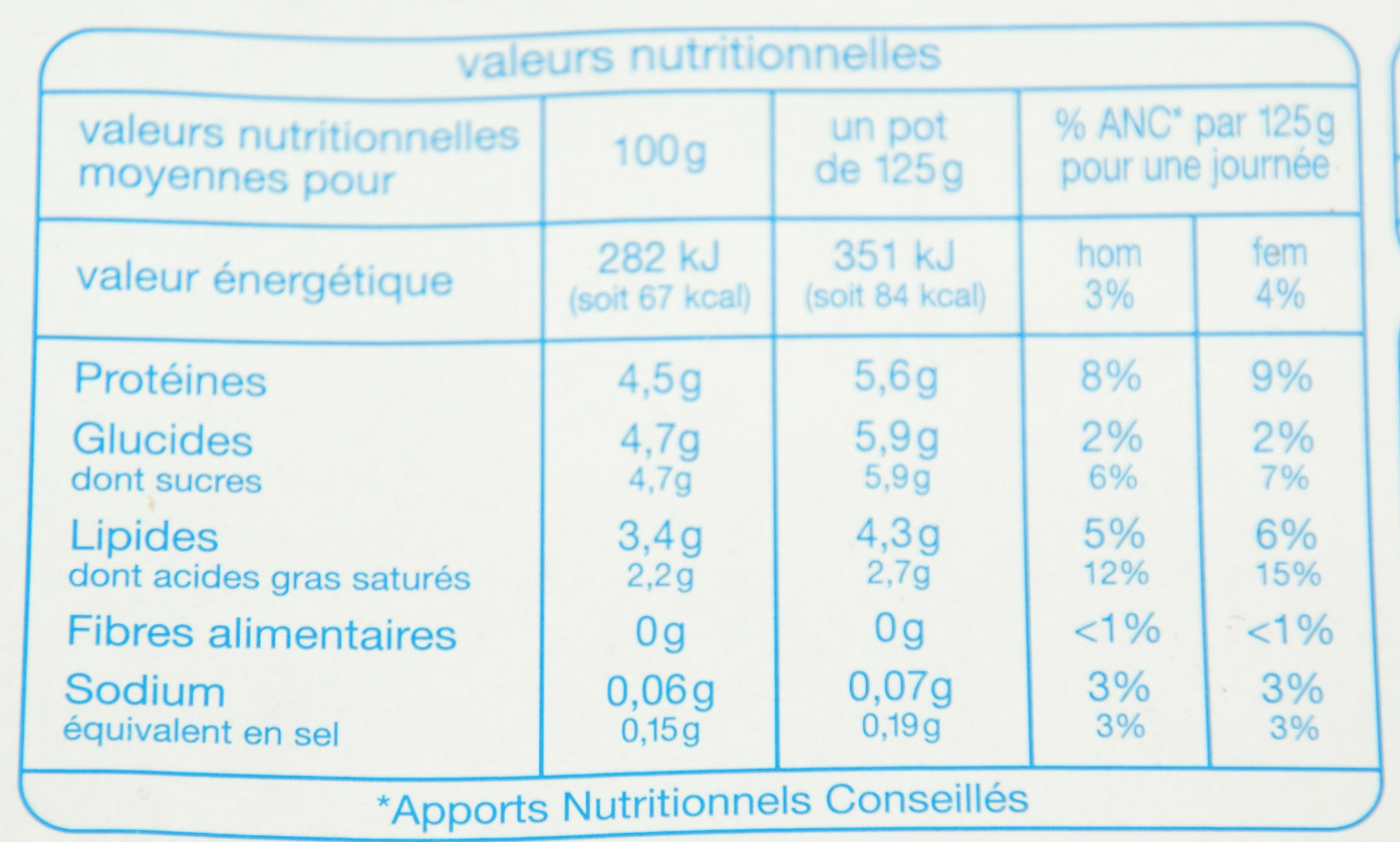 Yaourt nature brassé (8 pots) - Nutrition facts - fr