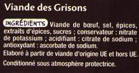 Viande des Grisons - Ingredients