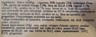 4 nems légumes - Ingredients - fr