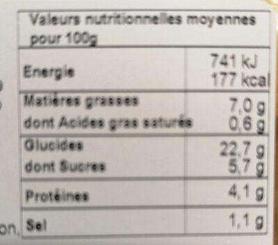 4 nems légumes - Nutrition facts - fr