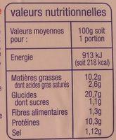 Poisson au Fromage Fondu - Informations nutritionnelles