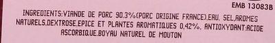 Chipolatas aux herbes x6 - Ingrédients
