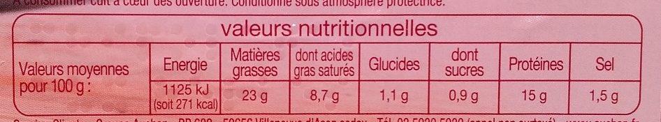 Chipolatas aux herbes x6 - Informations nutritionnelles