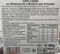 Tarte Carrée au fromage de chèvre et aux épinards - Ingredients