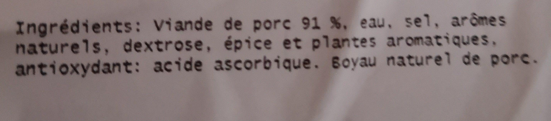 4 Saucisses de Toulouse - Ingredients