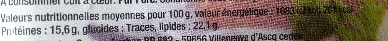 4 Saucisses de Toulouse - Nutrition facts