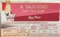Saucisses de Toulouse Auchan - Ingredients
