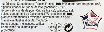 Boudin noir Antillais - Ingrédients - fr