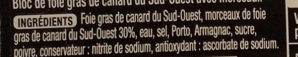 Bloc de foie gras de canard du Sud-Ouest avec morceaux - Ingredients