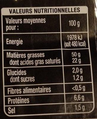 Bloc de foie gras de canard du Sud-Ouest avec morceaux - Nutrition facts
