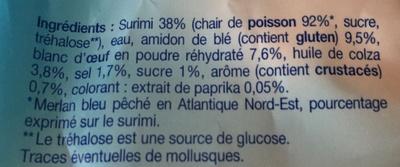 Surimi saveur crabe - Ingrédients