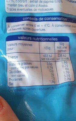 Râpé de surimi - Informations nutritionnelles