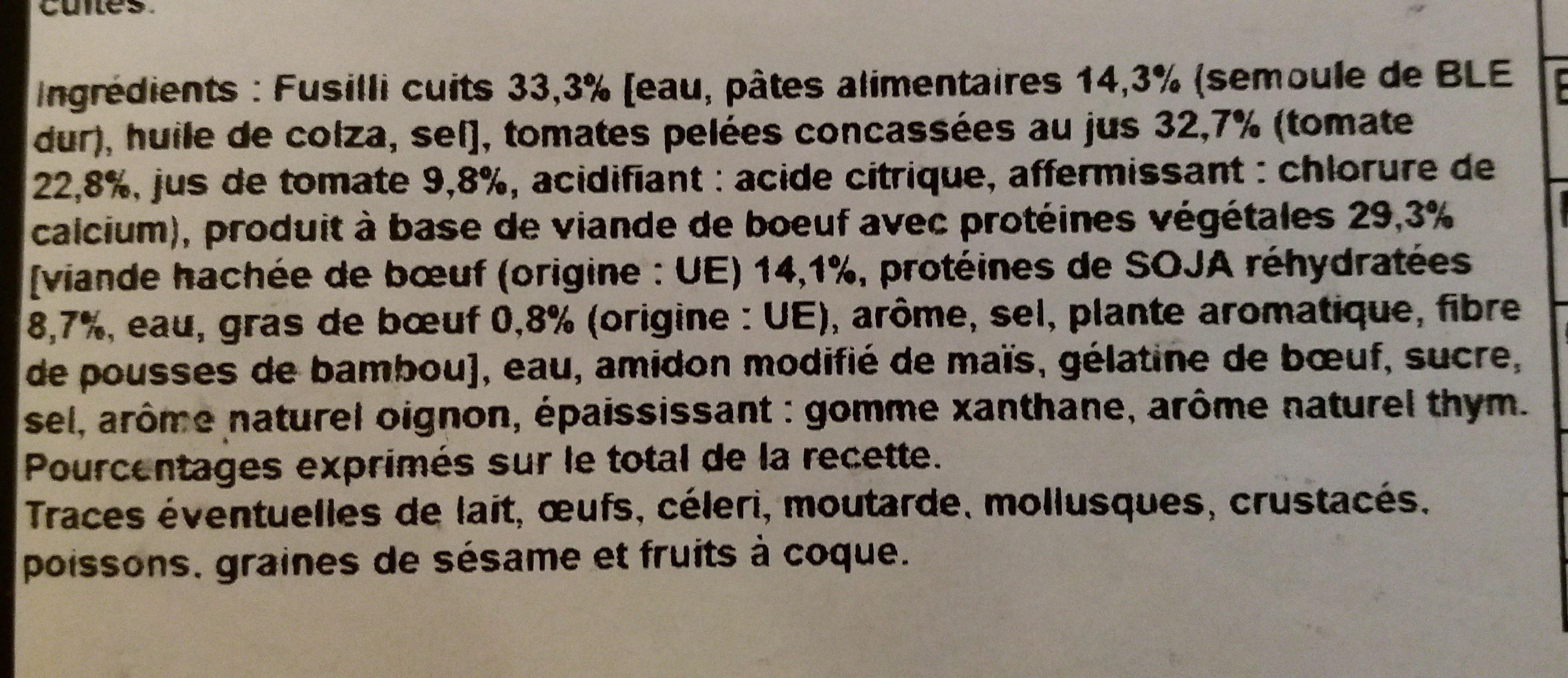 Boulettes au boeuf a la sauce tomate et fusilli - Ingredients