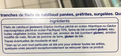 Tranches de filets panés surgelées Cabillaud - Ingredients