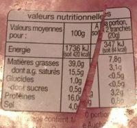 Auchan Salami Tranche x20 - Voedigswaarden