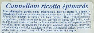 Cannelloni ricotta épinards - Ingredienti - fr